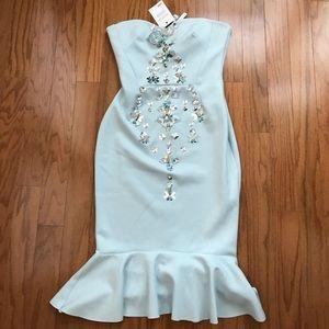 ASOS Embellished Fitted Blue Dress